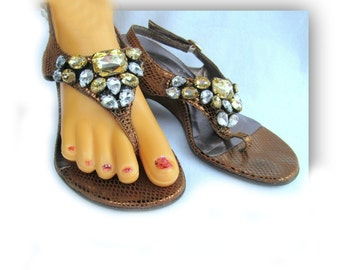 beaded sandals - bling sandals, T-strap sandals, women's sandals, dress sandals, heeled sandals, size 6, # 106