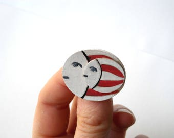 Mother and son, striped red white circle brooch, hand painted cute pin, gift idea for girl, circus style accessories