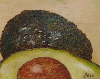 Split Avocado - Encaustic Painting -Kitchen Art