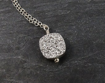 Silver Druzy Necklace Sterling Silver Necklace • Short Necklace Boho Jewelry • Layering Necklaces for Women • Mother Gift • Sister Birthday