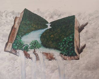 Open book open world acrylic painting