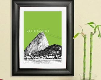 Rio De Janeiro Skyline Poster - Sugarloaf Mountain - Rio De Janeiro Brazil 2 Art Print - 8 x 10 Choose Your Color
