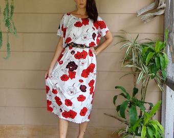 Vintage Floral Dress / Roses Midi Tent Shift Dress / OSFM