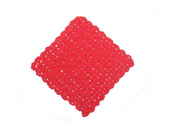 Dishcloths, Crochet, Solid color Red