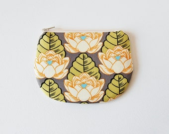 Coin Purse, Change Pouch, Small Zipper Pouch, Women and Teens, Mini Wallet, Amy Butler, Lotus Pond in Ivory