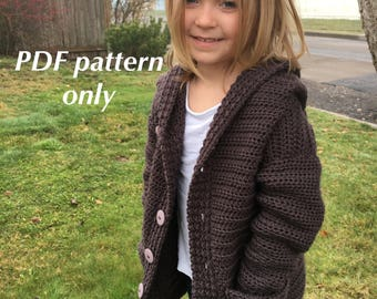 XS to Large - Addie Bear crochet hooded cardigan - kid's size