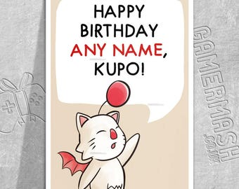 PERSONALISED BIRTHDAY CARD - Moogle Speech - Final Fantasy themed