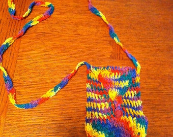 Hand Crocheted Rainbow Shoulder Pouch Bag with Flap & Red Button Closure