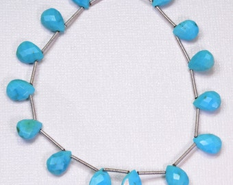 """Sleeping Beauty Turquoise Faceted Pear Briolette Beads 7"""" Strand"""