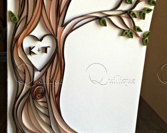 Paper Quilled Card / Tree with Carved Initials / Couple's Card / Wedding Card / 1st Anniversary Card / Engagement Card-LOVERS TREE CARD
