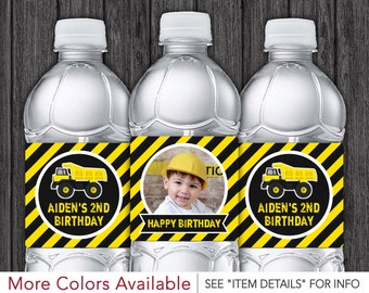 Construction Water Bottle Labels - Printable Dump Truck Birthday Party Decorations - DIY Digital File