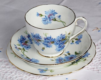 Adderley Cornflower Teacup Saucer and plate , Adderley Cornflower Trio