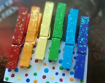 6 Decorative Rainbow Glitter Wood Clothespins .. Love is Love Gay Pride LGBT .. Magnets Optional..Hand Painted Gift Idea In Stock LAST SET