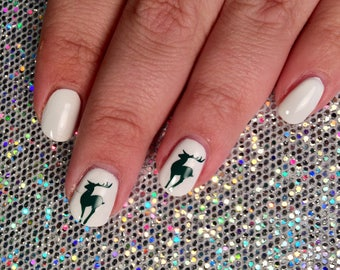 24 reindeer shaped vinyl nail decals for nail art in 20 colours santa claus holiday decals stencils ugly christmas sweater deer woodland