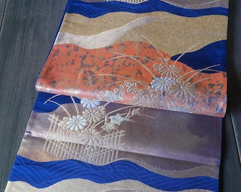 Vintage Japanese Silk Fukuro Obi sash Blue with flowers
