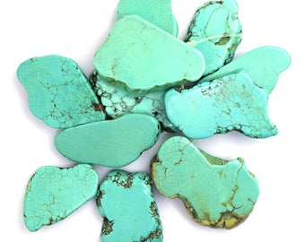 """30-35mm green turquoise freeform slab nugget beads 8"""" strand top drilled 36687"""