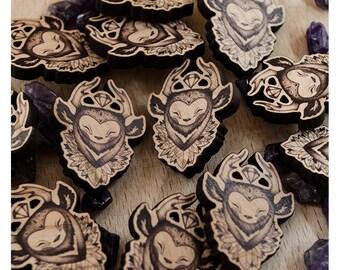 Shika - PIN, BROOCH, Wooden, Jewellery, Creature