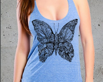 Womens BUTTERFLY T Shirt, Graphic Tee, American Apparel, Yoga Tank Top Racerback American Apparel Tri-Blend Tee S M L, Christmas Gift Ideas