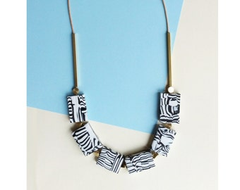 New Marble and Brass Necklace