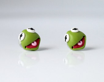 Muppets characters - Kermit The Frog - new handmade lightweight earrings, jewelry, animal, ideal for gift for girl