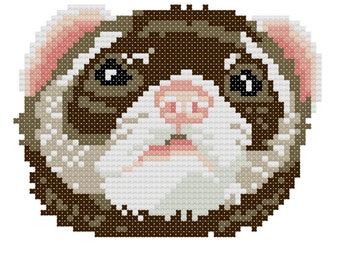 Ferret counted cross-stitch chart
