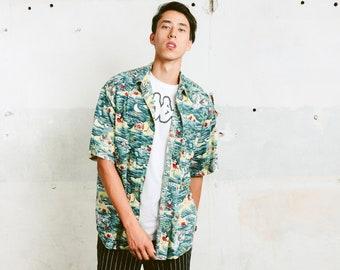 Mens Hawaiian Shirt . Patterned Hawaii Shirt Colorful Summer Top Mens Shirt Hipster 90s Skater Shirt . size Large L