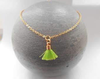 Gold anklet green tassel