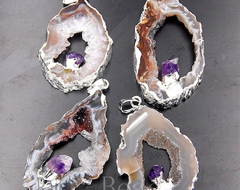 Natural Persian Agate Amethyst Geode Pendant, Silver plated Sliced Gemstone For DIY Necklace, |31-50mm|