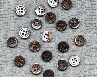 "Twenty Vintage 3/8"" Four Hole Black Lip Shell Shirt Buttons"
