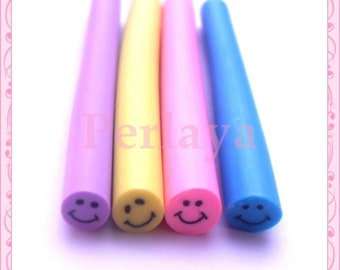 Set of 4 smiley REF1423 fimo canes