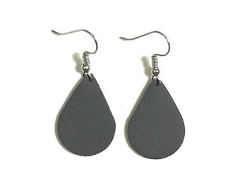 Small Leather Earrings; Leather Earrings; Leather Teardrop Earrings; Dark Grey Leather Earrings; Lightweight Earrings; Statement Earrings