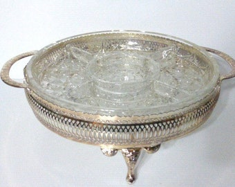 112817BX8 Glass Divided Condiment Server with TRAY Footed Metal Tray Vintage Glass Thick Vintage Tray
