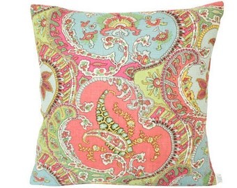Schumacher Pickfair Paisley by Timothy Corrigan - Pillow Cover in Coral and Blue