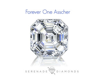 Asscher Cut Moissanite Forever One Loose Stone Charles and Colvard Lab Grown Gemstone Diamond Alternative