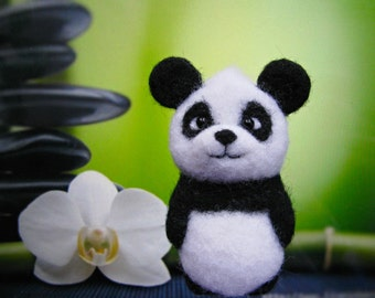 Felt animal Brooch Panda jewelry panda pin felt brooch  Wool miniature panda Animal jewelry for panda lover gift for her gift for girlfriend