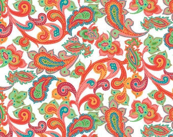 """10 sheets of Strawberry Paisley Wrapping Paper, 19x27"""",  in rich bright colors using vegetable inks on recycled paper 1.50 a sheet"""