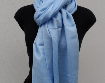 Silk Cashmere Scarf - Ice Blue