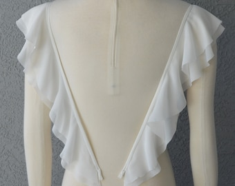 Detachable Ivory or White Chiffon fabric Butterfly Sleeves to Add to your Wedding Dress it Can be Customize