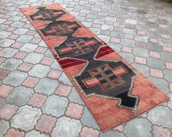 FREE SHİPPİNG,10'5x2'6 ft,323x82=264,Turkish runner rug,oushak runner,wool rug,home decor,anatolian runner,turkish rug,bohemian rug,area