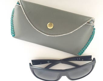 Soleil Glasses Case:  Slate Grey leather with Turquoise kangaroo lacing and butterfly