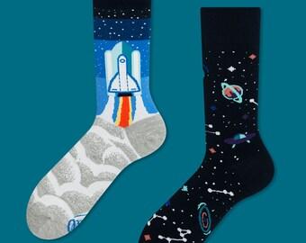 Space Trip socks | men socks | colorful socks | cool socks | mismatched | womens socks | unique socks | patterned socks | space socks |