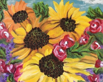 """Original Painting - """"Wild Sunflowers"""" 20 x 20 inches on canvas"""