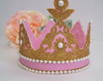 Princess Crown Cake topper, baby princess, princess cake topper, princess baby shower, pink and gold birthday, birthday crown cake topper