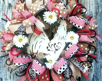 Rooster Wreath, Farmhouse Wreath, French Country Decor, Large Deco Mesh Front Porch Decor, Red Summer Rustic Wreath, Country style Wreath