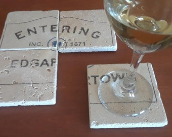 Entering Edgartown, Martha's Vineyard - Set of 4 Travertine Stone Coasters