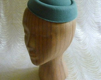 Spruce Green Pillbox Style Faux Wool Felt Fascinator Base for DIY Hat Projects Millinery Supply
