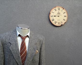 Vintage HARRIS TWEED Jacket / Herringbone Tweed Sport Jacket / Gray Tweed Sport Coat 40 Short / Mens Tweed Blazer Size 40 / Made in Canada