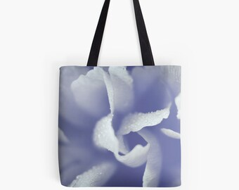 Abstract Blue Flower Canvas Tote Bag, Fine Art TOTE BAG, Ethereal Blue Market bag, Flower Canvas Bag, Floral Shoulder Bag, Floral Tote Bag