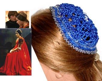 Juliet Muffin cap ROYAL BLUE Ribbon,Blue Rhinestones & SILVER Bead, cap,Renaissance,Medieval, headpiece, headdress, Elizabethan