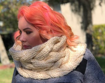 READY TO SHIP // Oversized Cable Cowl, large Knit Scarf, Cable Scarf, Infinity Scarf, Cream Scarf, White Scarf, Knit Scarf
